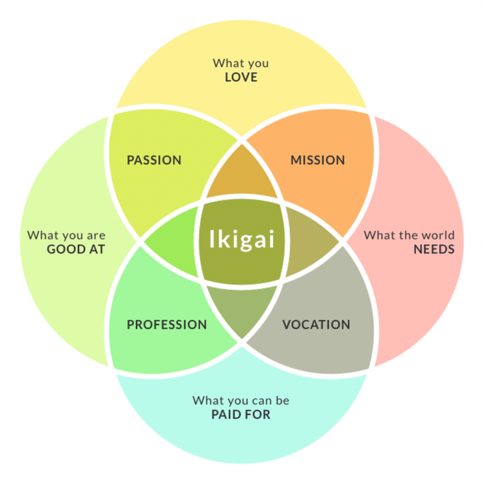 "Ikigai: Japanese concept meaning  ""a reason for being"".  Image sourced from Forbes."