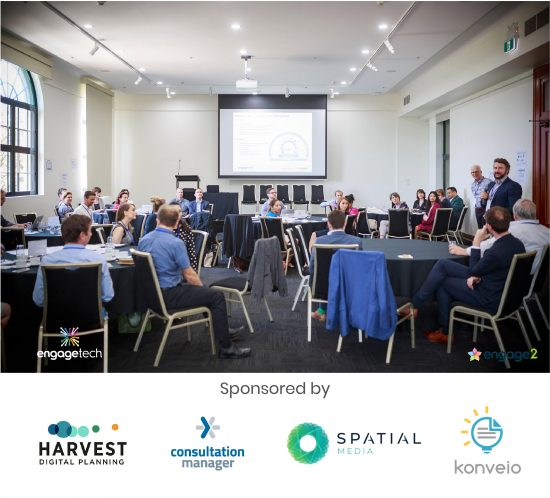 2020 ANZ EngageTech Forum Sponsors: Harvest Digital Planning - The HiVE; Consultation Manager Software; Spatial Media; Konveio software